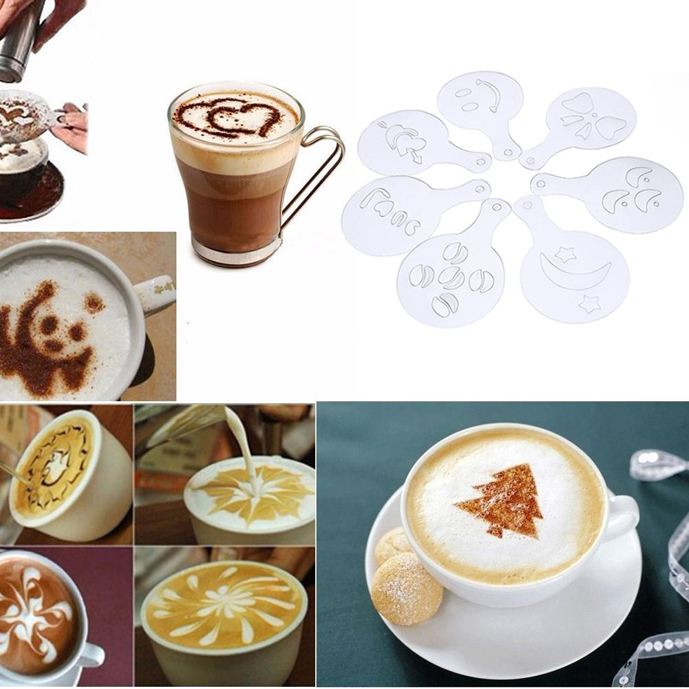 16pcs Mold Milk Cupcake Coffee Printing Stencils Template Coffee Barista Cappuccino Strew Pad Spray Art Mold Coffee Decorating