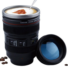 Load image into Gallery viewer, 400ml Stainless Steel Camera Lens Mug With Lid New Fantastic Coffee Mugs Tea Cup Novelty Gifts Caneca Lente Cups Drinkware