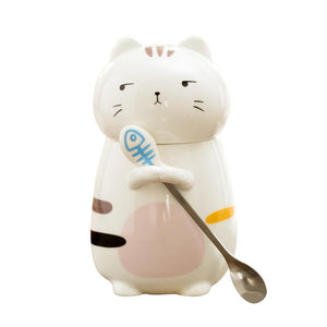 Cartoon Cat Ceramic Mug - Cat Cup - Cartoon Mug - 400ml - With Spoon - Special Cup -  Beautiful Cat Cup