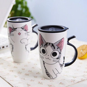 Cute Cat Ceramics Mug With Lid Large Capacity - 600ml - Special Cup -  Beautiful Cat Cup