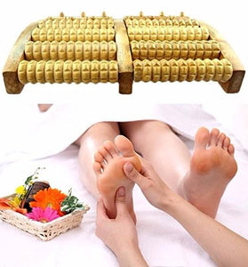 Stress Relief Wooden Dual Foot Roller Massager