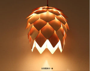 Home Dining Room Pinecone Pendant Lamps Modern Wooden PH Artichoke DIY IQ Elements Jigsaw Puzzle Bedroom Art Wood Lamparas Light
