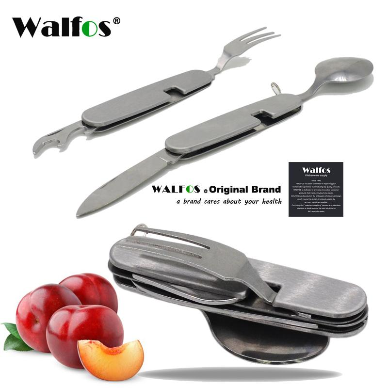 Hot Multifunction Outdoor Camping Picnic Tableware Stainless Steel Cutlery 4 in 1 Folding Fork Knife&Bottle Opener Dinnerware