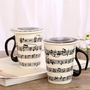 Novelty Music Mugs Personality Tea Cup Creative Ceramic Cup Notes Mark Water Cup Keyboard  Coffee Cup Christmas Gifts