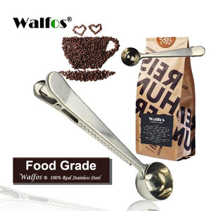 Stainless Steel Coffee Scoop with Bag Clip Sealing Tea Measuring Spoon Kitchen Tool coffee accessories