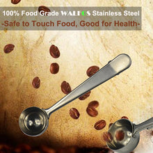 Load image into Gallery viewer, Stainless Steel Coffee Scoop with Bag Clip Sealing Tea Measuring Spoon Kitchen Tool coffee accessories