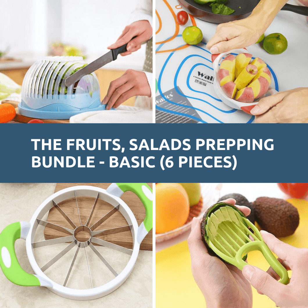 The Fruits, Salads Prepping Bundle - Basic - 6 Prepping Tools. Prep Fruits, Salad in Seconds!