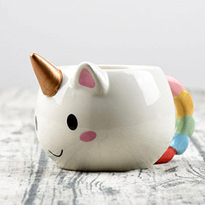 Ceramic Coffee Mug 300ml Cute Gold Stereo Unicorn Cup Rainbow Horse Cup Creative 3D Cartoon Porcelain Mugs Drinkware