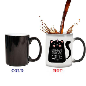 Creative Color Change Unicorn Cat Mugs 300ml Cute Birthday Gift Discoloration Cup Ceramic Coffee Mug Magical Horse Cup
