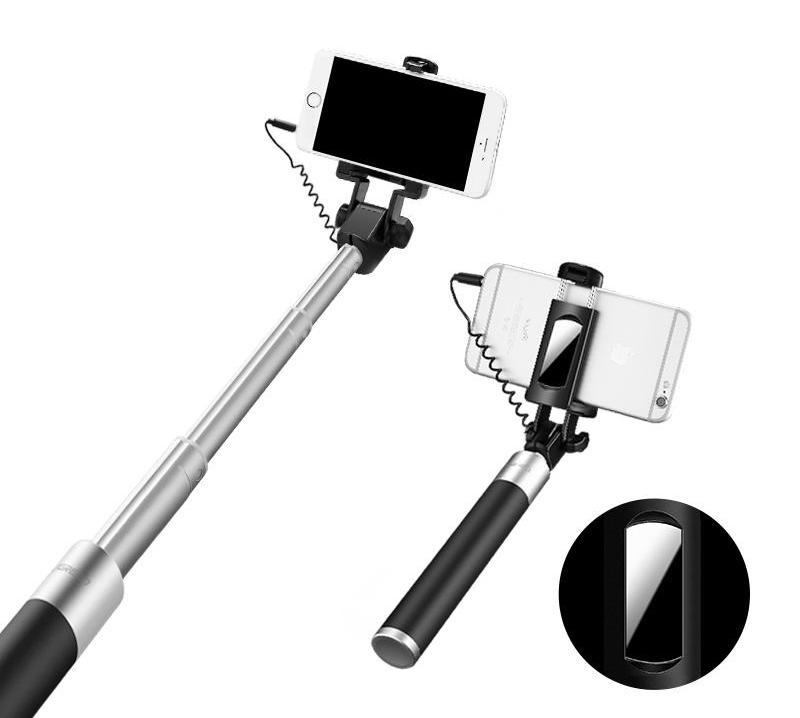 Selfie Stick With Button Wired With Mirror