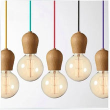Load image into Gallery viewer, Vintage pendant light Oak Wood lamp 100cm colored cable E27/E26 socket wood lampholder Hanging light fixture.only lamp,No bulbs