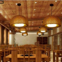 Load image into Gallery viewer, modern bamboo work hand knitted bamboo Pendant Lamp Good Price Pendant Lamp With bamboo Shades For dinning Room