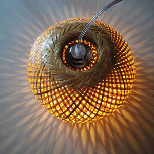 modern nature bamboo work hand knitted bamboo Pendant Lamp Good Price Pendant Lamp With bamboo Shades For dinning Room