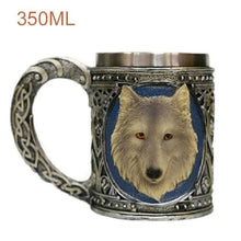 Load image into Gallery viewer, Wolf Drinking Mug 350ml Double Wall Stainless Steel 3D Skull Mugs Coffee Cup Skull Knight Tankard Drinking Cup Canecas