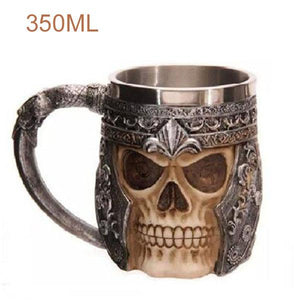 Wolf Drinking Mug 350ml Double Wall Stainless Steel 3D Skull Mugs Coffee Cup Skull Knight Tankard Drinking Cup Canecas