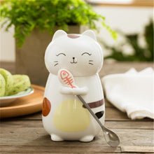 Load image into Gallery viewer, Cartoon Cat Ceramic Mug - Cat Cup - Cartoon Mug - 400ml - With Spoon - Special Cup -  Beautiful Cat Cup