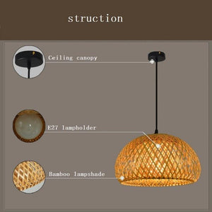 modern bamboo work hand knitted bamboo Pendant Lamp Good Price Pendant Lamp With bamboo Shades For dinning Room
