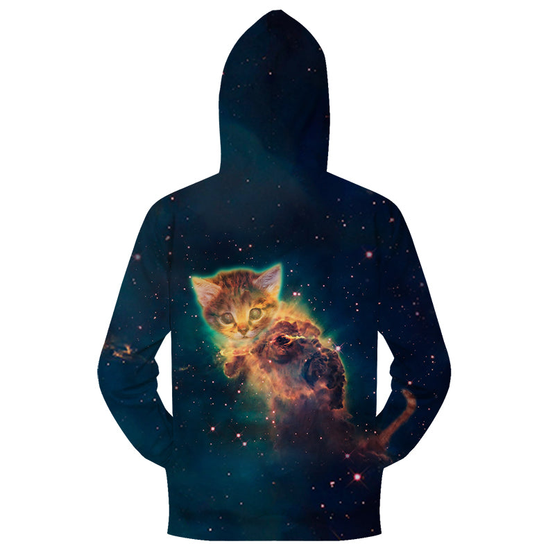 Galaxy Cute Kitten Zipper Sweatshirt Streetwear Hoodie Allover - BernardoModa