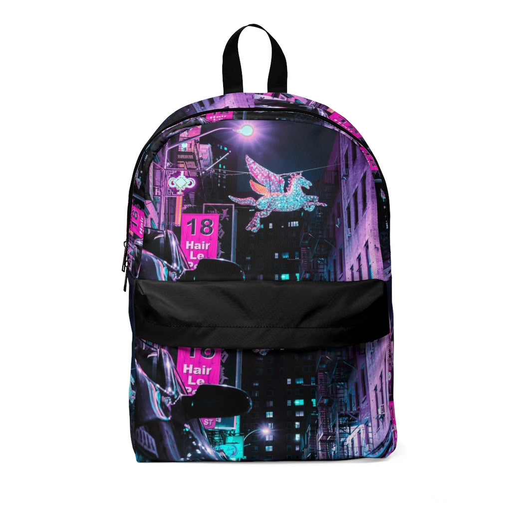 Vaporwave Aesthetic Pink And Blue Dark Classic Backpack - BernardoModa