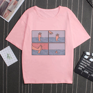 High Five while Sinking Pink Tee - BernardoModa