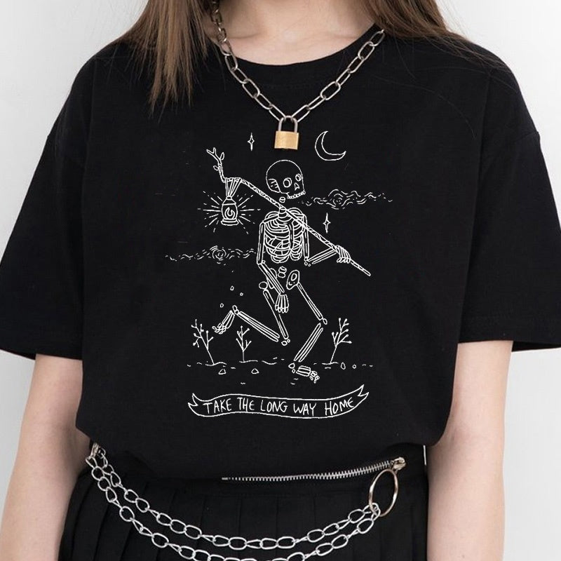 Sketch 'Take the Long Way Home' Grunge Aesthetic Black Tee Shirt