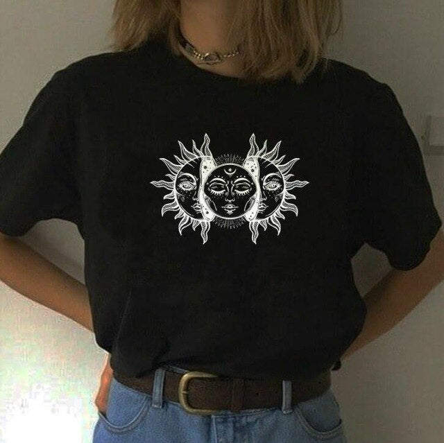 Moon Face Aesthetic Art Black Tee Shirt