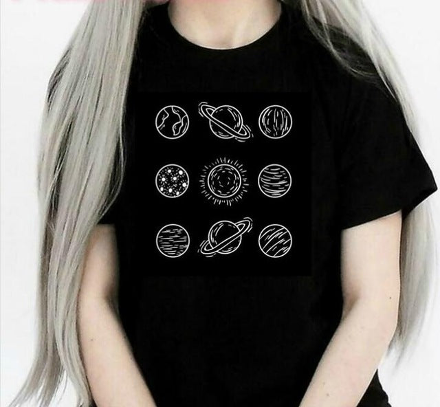 Planets Aesthetic Art Black Tee Shirt