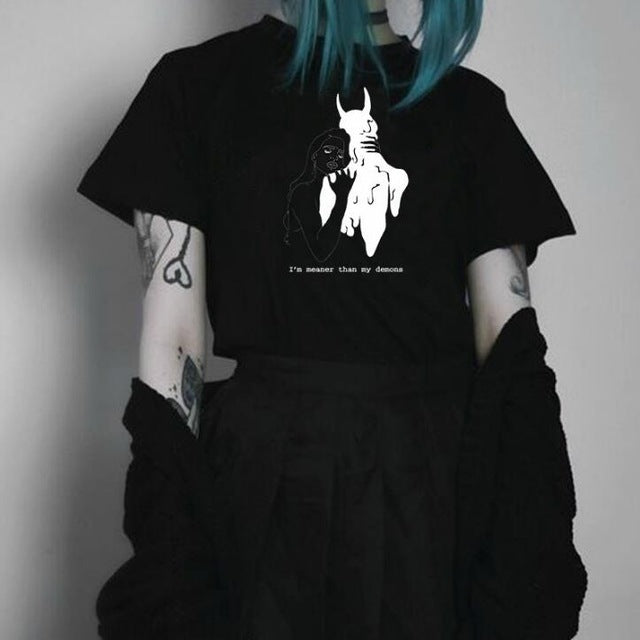 'It's meaner than my demons' Aesthetic Art Black Tee Shirt