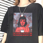THE ANGELS PROTECT ME THE DEMONS RESPECT ME Aesthetic Red Demon Tee Shirt
