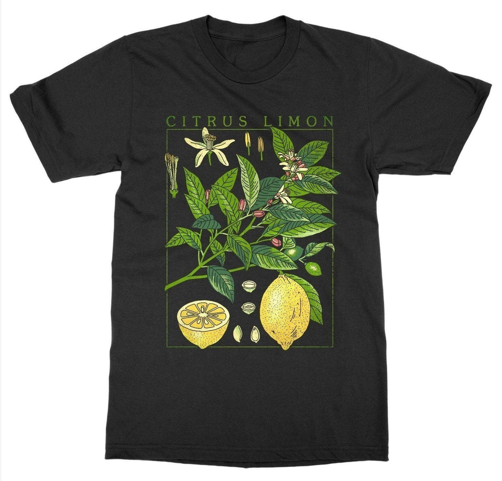 'Citrus Limon' Lemon Plant Aesthetic Art Black Tee Shirt