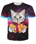 Cute Cat Eating Pizza & Taco Allover Print Tee