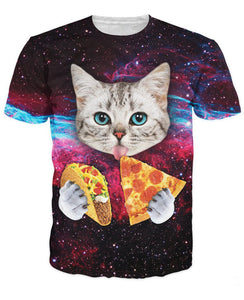 Cute Cat Eating Pizza & Taco Allover Print Tee - BernardoModa