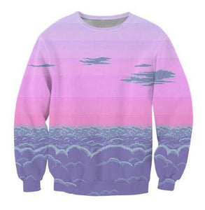 Pixel Sunset Vaporwave  Scene of 8-bit Clouds Sweatshirt - BernardoModa