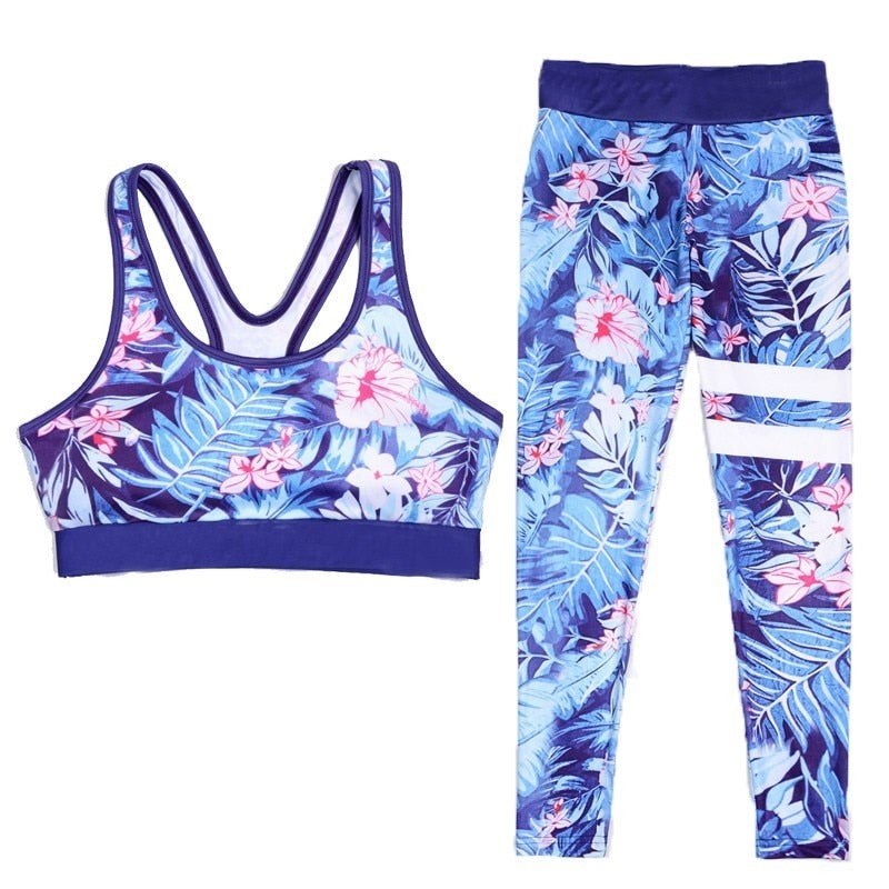 Flowers Design Sporting Suit Women's Two Piece Tracksuit Leggings And Tops