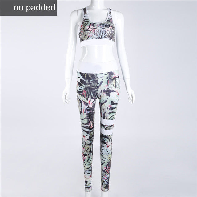 Flowers Design Sporting Suit Women's Two Piece Tracksuit Leggings And Tops - BernardoModa