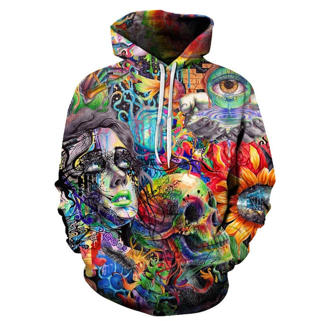 Skull Paint Eye Flowers Aesthetic Sweatshirt Streetwear Hoodie Allover