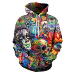Skull Paint Eye Flowers Aesthetic Sweatshirt Streetwear Hoodie Allover - BernardoModa