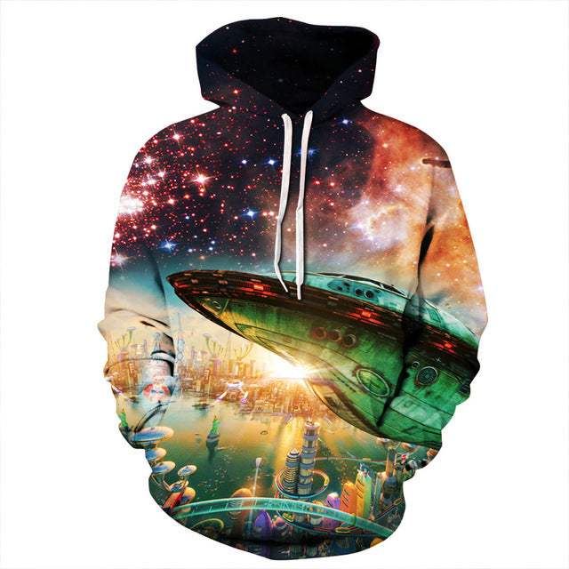 Space Airship Sweatshirt Streetwear Hoodie Allover