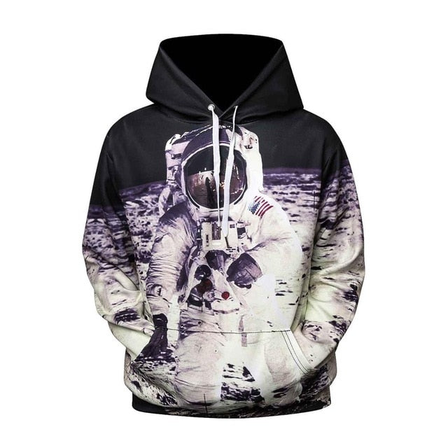 Astronaut Moon Landing Sweatshirt Streetwear Hoodie Allover Print (+ Other Special Hidden Cool Designs)