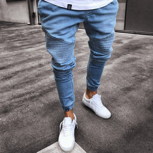 2018 New Fahsion Mens Harem Pants Stretchy Ripped Biker Jeans Elastic Waist Destroyed Taped Slim Fit Denim Long Pant Harems