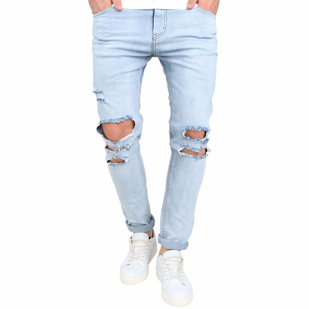 2018 New Men's Jeans Stretchy Destroyed  Slim Fit Denim Pants Blue Jeans Stretch Denim Pants Trousers Classic Cowboys Man