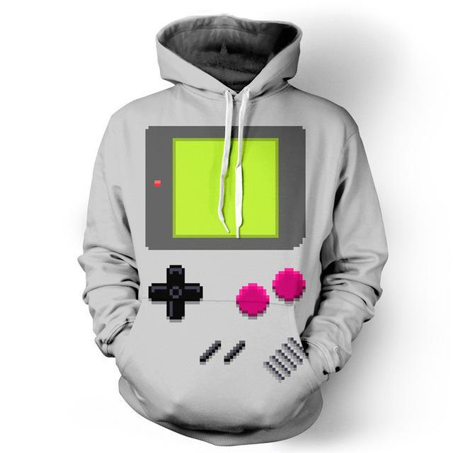 Gamer Retro Sweatshirt Streetwear Hoodie Allover Print