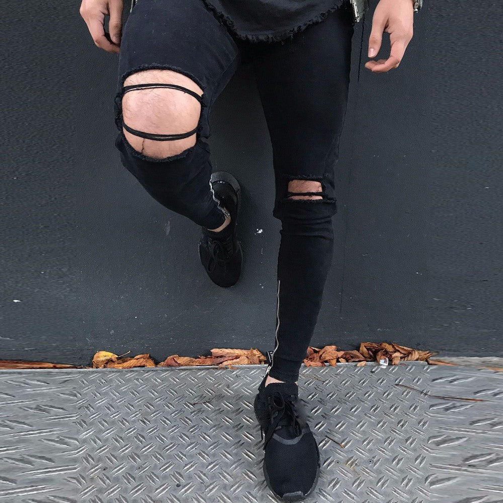 2018 New Men's Jeans Stretchy Ripped Jeans Destroyed Taped Slim Fit Denim Pants Men's Denim Fashion