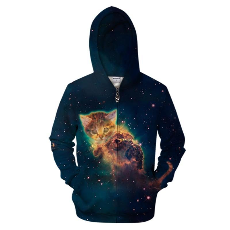 Galaxy Cute Kitten Zipper Sweatshirt Streetwear Hoodie Allover