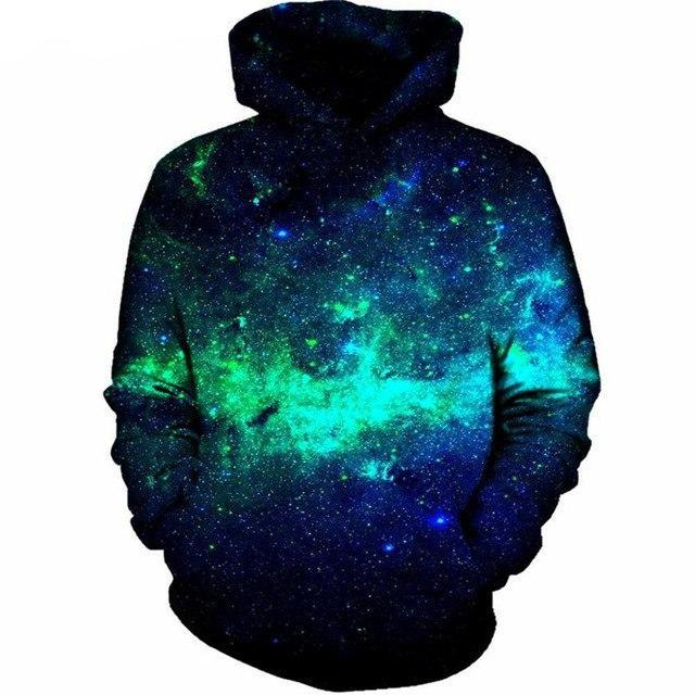 Green Space Galaxy Sweatshirt Streetwear Hoodie Allover Print