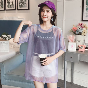 Gkfnmt Fashion Hollow Out T Shirt Women Sexy Transparent Summer Tops Ladies Short Sleeve Loose Two set T-Shirts Women Tee Shirt - BernardoModa