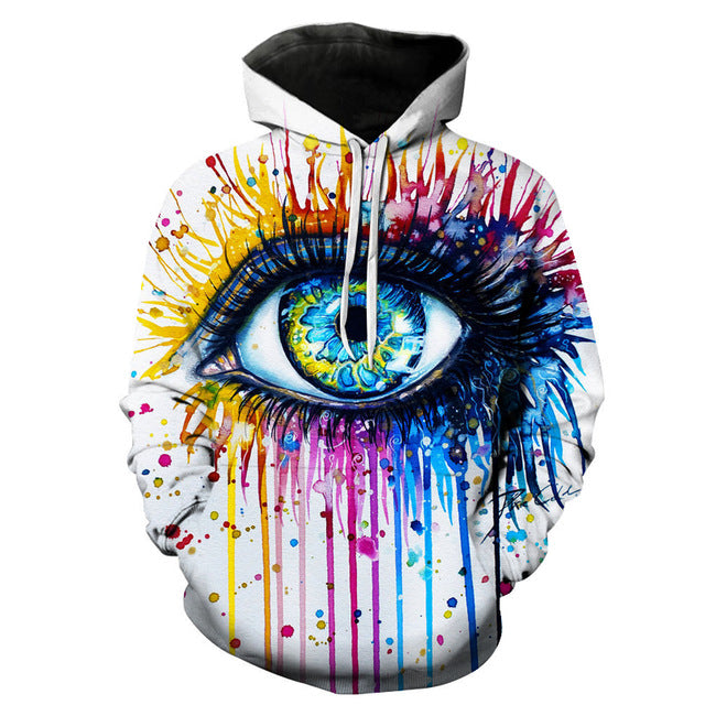 Rainbow Eye Sweatshirt Streetwear Hoodie Allover Print