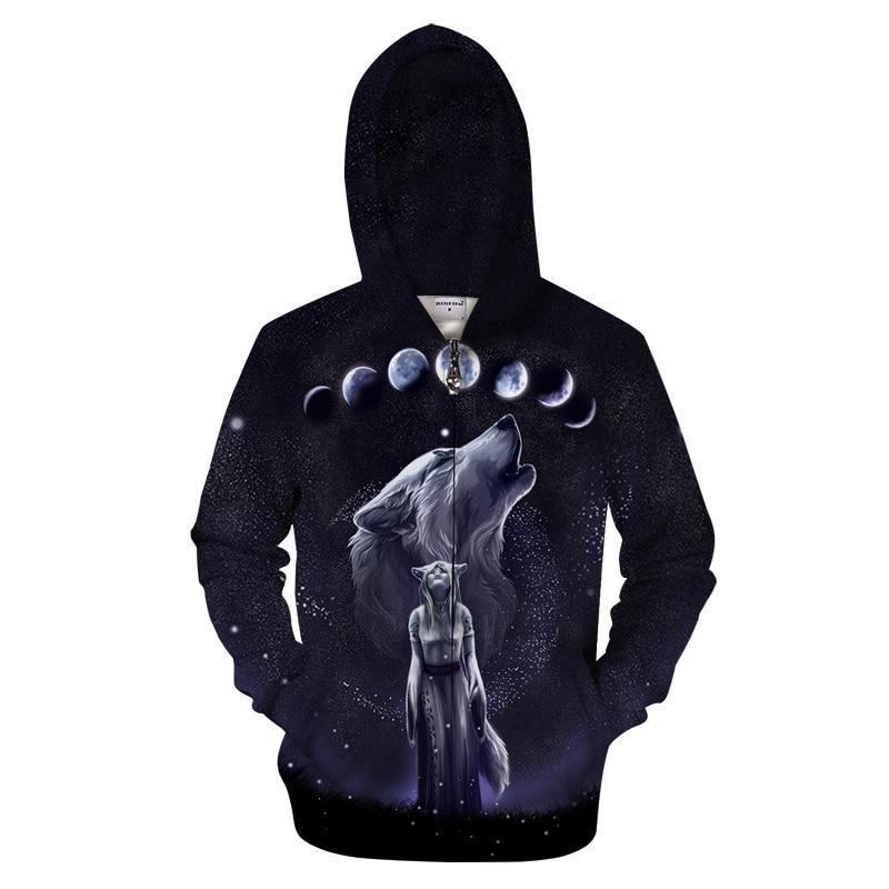 Wolf Moon Zipper Sweatshirt Streetwear Hoodie Allover
