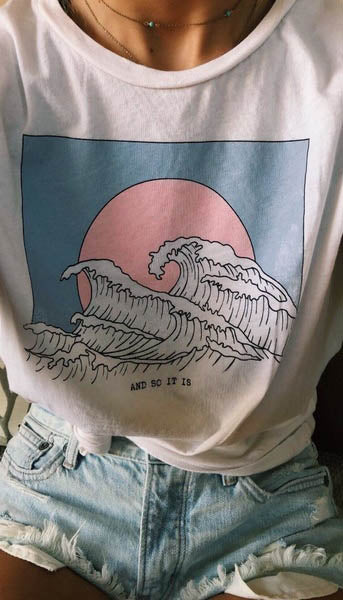And So It Is Ocean Wave Aesthetic Tumblr 90s White Tee T-Shirt Cute Summer Top - BernardoModa