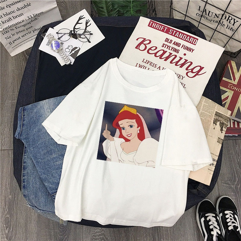 Disney Princess Middle finger White Tee